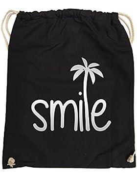 Comedy Bags - smile - PALME - hipster Turnbeutel, bedruckter Gymbag aus 100 % Baumwolle, praktischer Sport-Jute-Beutel...