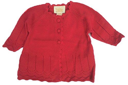 Viddia Rot Pointelle-Cardigan Crochet Vordere Kante und geknöpfte, Baby zu sechs Jahre. Gr. 86, Hellrot (Crochet Cardigan Knit)