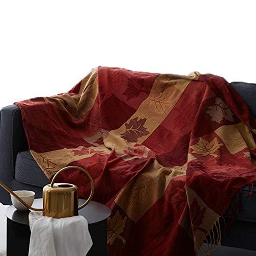 WR Chenille-Überwurfdecke, Vintage-Jacquard-Quasten, Doppelseitig, Patchwork-Decke, Warm, Luxuriös, Dekorativ for Zuhause, Büro, Reisen, Tibet Red, 140 * 190 cm (Color : Red) -