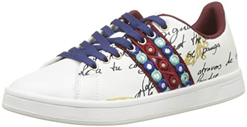 Desigual Shoes_Cosmic_Exotic Lettering, Scarpe da Ginnastica Basse Donna, Bianco (Blanco 1000), 41 EU