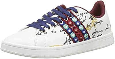 Desigual Shoes_Cosmic_Exotic Lettering, Zapatillas para Mujer, Blanco (Blanco 1000),