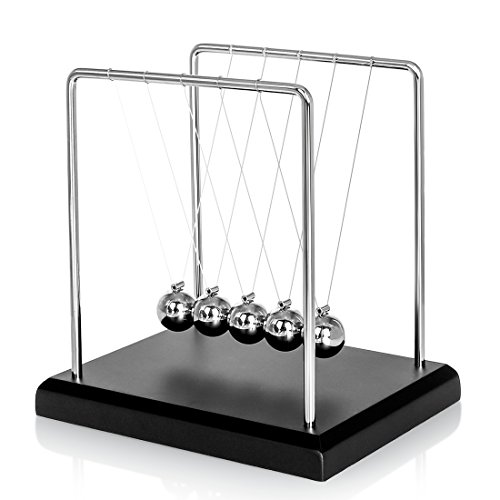 Newton's Cradle with wooden base - for bored YUPPIES!  This is a high quality item with stainless steel frame.