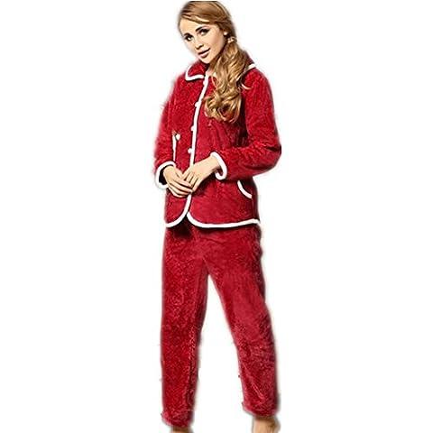 LIUDOU Coral polar pijamas mujer Linda otoño/invierno cálido grueso manga , wine red , xxl