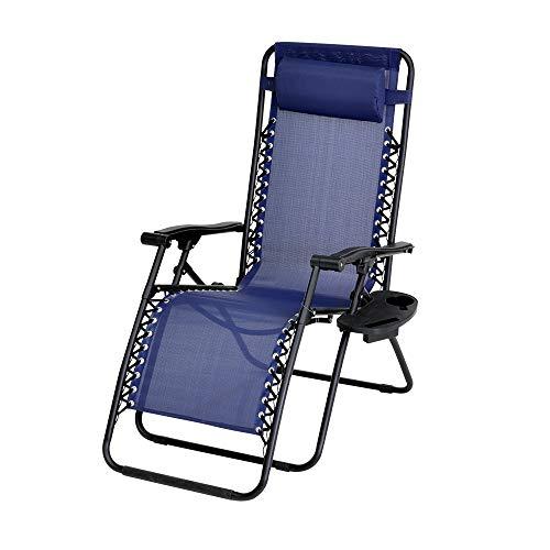Enrico coveri sedia sdraio ergonomica con portaoggetti, reclinabile e pieghevole per casa, esterno e giardino, in textilene e acciaio, cuscino imbottito e poggiapiedi, vari colori (blu)