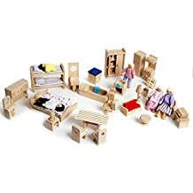 Wooden Doll's House Furniture 52 Piece Set Including Dolls Age 3+ CE Miniature Toy