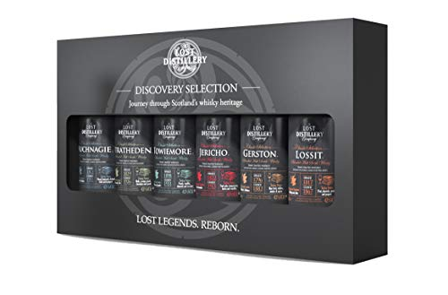 The Discovery Selection by The Lost Distillery Company - whisky geschenkset. Limited edition gift pack of 6 x 5cl glass miniature bottles. 43% Abv. Blended malt Scotch Whisky. Take a journey whisky styles from delicate through sherry to smoky. Lost Scotch Whisky Legends Reborn.