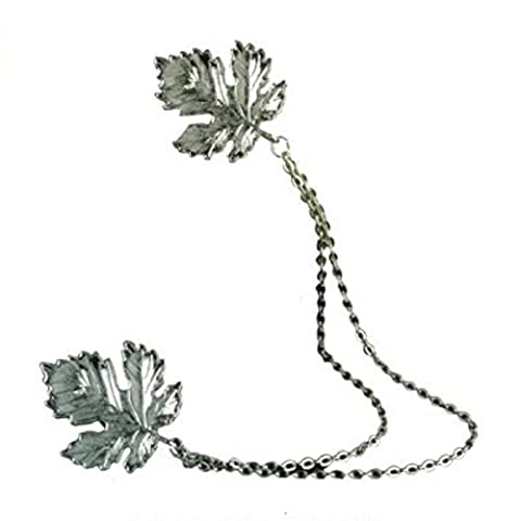 SODIAL(R)Antique silver retro maple leaf collar brooch necklace vintage jewelry gift
