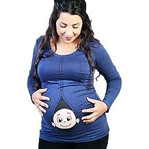Zilcremo Mujer Camiseta de Maternidad Peeking bebé Divertido Embarazo tee Tops