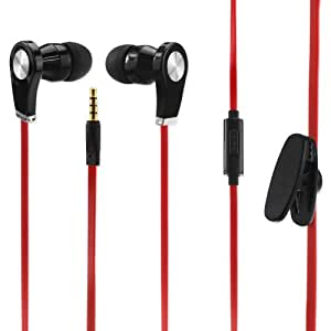 Earphone 3.5Mm With Mic And In Ear Rubber Caps Red