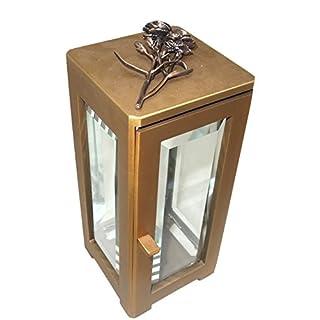 Art-Odlew Grablampe, Grablaterne Bronze B0634Fac mit Rose und Facettenscheiben (Rose 10cm)