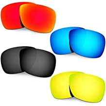 Hkuco Mens Replacement Lenses For Oakley Inmate Red/Blue/Black/24K Gold Sunglasses