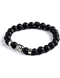 Hot And Bold Silver Plated Buddha Charms Beads Strechable Bracelet. Daily/Party Wear Stylish Fashion Jewellery for Men/Women/Boys/Girls. Blue Agate Stone.