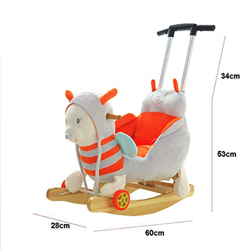 JTYX Bee Children Music Trojan Rocking Horse Baby Rocking Chair Solid Wood Rocking Cradles Birthday Gift JTYX ★ Convenient and practical: The product allows the baby to exercise, grasp, climb, kick, squat, shake, etc., so that the baby can play easily. ★Removable design: The seat cover is detachable, easy to clean, safe in material and does not fade. Made of solid wood and plush, it is more comfortable and safer to sit ★ Heightening base: Scientific anti-rolling, widening and heightening the base to keep the swing amplitude safe. 8