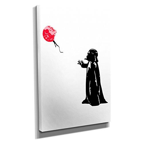 Nerdinger Death Star Balloon - Kunstdruck auf Leinwand (60x90 cm) zum VERSCHÖNERN IHRER Wohnung. Verschiedene Formate AUF ECHTHOLZRAHMEN. HÖCHSTE QUALITÄT, UMWELTBEWUSST hergestellt. MIT GARANTIE.