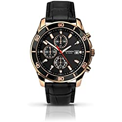 Sekonda Men's Quartz Watch with Black Dial Chronograph Display and Black Leather Strap 1051.27