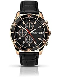 Sekonda Men's Quartz Watch with Black Dial Chronograph Display and Black Leather Strap 1051.27