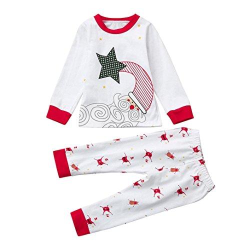 Kinderkleidung Babykleidung Set Longra Baby Kinder Junge Mädchen Schlafanzug Pyjama Set Hausanzug Sleepwear Weihnachten Nachtwäsche Baumwolle Familie Kleider Set (White, 100CM 2Jahre) (Floral Pyjama Baumwolle)