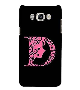 FIOBS alphabet D womens face floral design pink girl lady Designer Back Case Cover for Samsung Galaxy J7 (6) 2016 :: Samsung Galaxy J7 2016 Duos :: Samsung Galaxy J7 2016 J710F J710Fn J710M J710H