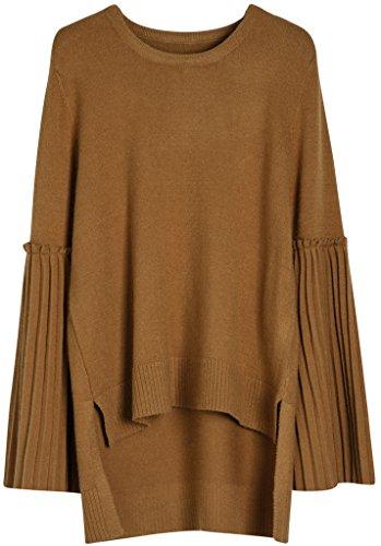 Vogueearth Fashion Femmes Trumpet Manches Crew Neck Knit Jumper Sweater Chandail Tricots Pullover Top Bronzer