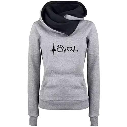 GreatestPAK Damen Langarm Halshaufen Bestickt Kapuzenpullover Oberteile Lässig Stickerei Sweatshirt Pullover Bluse, Grau,XXL