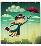 Abakuhaus Fantasie Duschvorhang, Märchen Nanny London, Pflegeleichter Stoff mit 12 Haken Wasserdicht Farbfest Bakterie Resistent, 175 x 200 cm, Multicolor