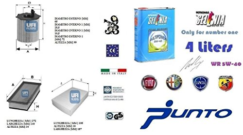 Kit filtri tagliando UFI Panda 319 0.9 TwinAir Natural Power 63 Kw + 4 Litri Olio Selenia Multipower 5W40