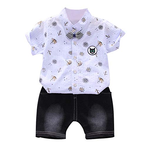 Gyratedream Baby Boys Clothing Set 0-4 Years,Summer Baby Boys Short Sleeve Floral Print Tops Blouse T-Shirt+Shorts Children Casual Outfits Sets - 12mo-outfit