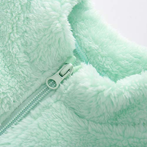 MHC~KJ Toddler Kids Baby Girls Boys Cute Zipper Solid Thick Hooded Coat Warm Outwear Mint Green Image 3