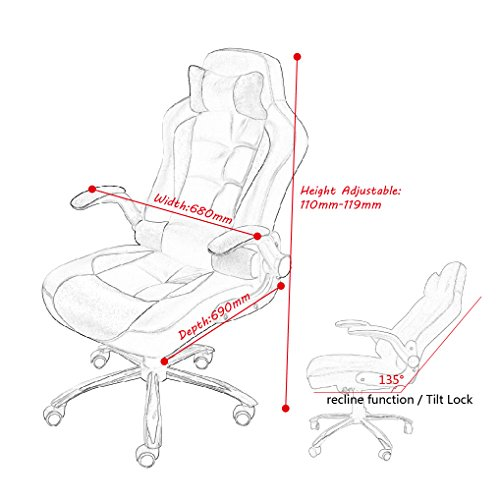 Get HIGH BACK EXECUTIVE OFFICE CHAIR LEATHER SWIVEL RECLINE ROCKER COMPUTER DESK FURNITURE GAMING RACING CHAIR (RED) on Line