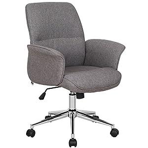 SixBros. Bürostuhl,Schreibtischstuhl zum Drehen, Drehstuhl für's Büro oder Home-Office, stufenlos höhenverstellbar, Chefsessel aus Stoff, braun, 0704M/3675