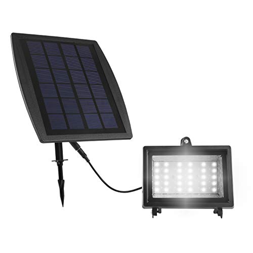 MVPOWER Lámpara de LED con Panel Solar 30 LEDs Sensor Luz Blanco Iluminación Ultra Brillante para Jardín Patio Piscina Porche