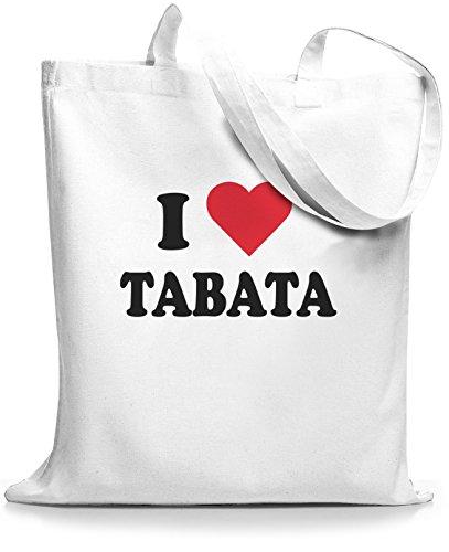 StyloBags Jutebeutel / Tasche I love Tabata Weiß