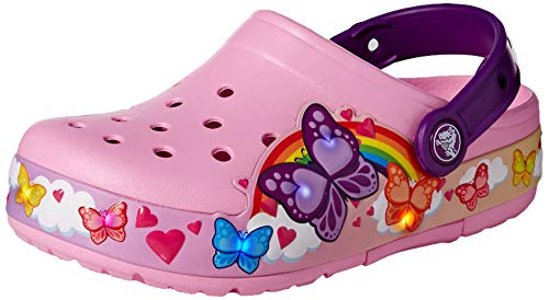 crocs Unisex-Kinder CFL Butterflyband Lights K Clogs, Pink (Carnation 6i2), 30/31 EU -