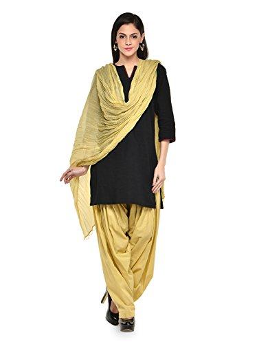Stylenmart Women Cotton Solid Full Patiala Salwar Dupatta Set (Stmapa078615 _Beige _Free Size)