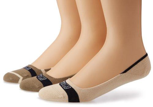 's Signature Insivisble Striped 3 Pair Pack Liner Socks, Taupe/Bone, Medium/Large(Shoe Size 9.5-13) ()