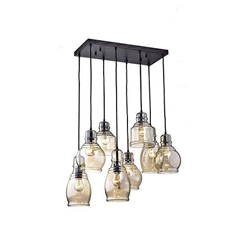 Licht Cluster-glas (ZLHLL Moderne hängende Cluster Licht Glas Cluster Anhänger 8-Light Brandy Glas Kronleuchter für Esszimmer, Cafe, Bar, Küche (quadratische hängende Platte))