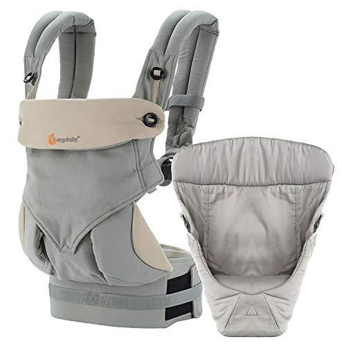 Ergobaby Babytrage für Neugeborene von Geburt an Paket inkl. Neugeboreneneinsatz, 360 4-Positionen Baby-Tragetasche Grau BCII360AGRYV3 (Ergo Original Carrier Baby)