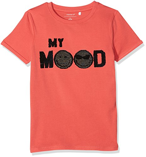 NAME IT Jungen T/Shirt Nkmicon Tinko SS Slim Top Lic, Orange (Spiced Coral),134/140
