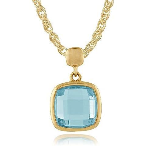 Gemondo collana in oro giallo 9ct 2,50ct Topazio Blu Quadrato luminosità con ciondolo, 45cm