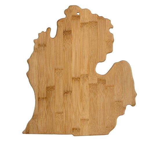 Michigan Board (Totally Bamboo Alaska State Servier- und Schneidebrett aus Bambus Michigan natur)