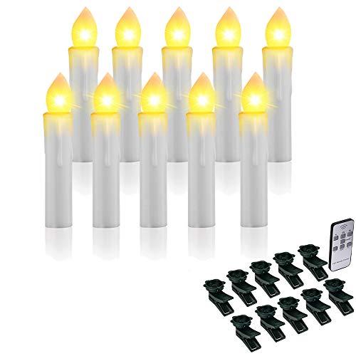 TurnRaise 10 Navidad vela LED decoración navideña Guirnalda Luminosa Cálido Para Decoración de Navidad (Blanco cálido)