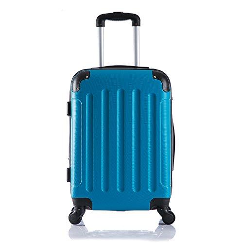 EUGAD #374 Reisekoffer Hartschale Koffer Trolley mit erweiterbare Volumen , Reise Koffer Trolley 4 Rollen , Hartschalenkoffer Handgepäck M/L/XL/Set , leicht und günstig , Türkis (M, 56 cm & 42 Liter)