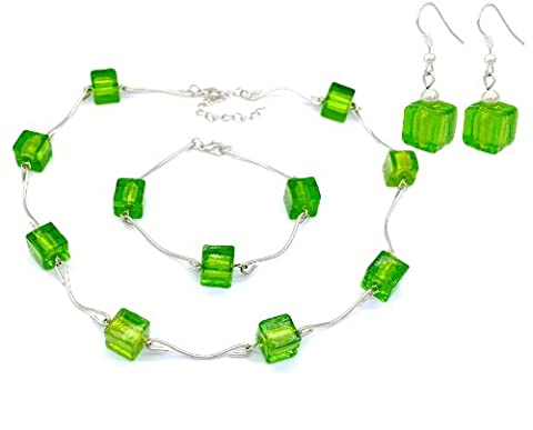 En verre de Murano-Vert Fashion Boucles d