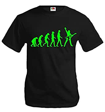 T-Shirt The Evolution of electric guitar-S-Black-Neongreen