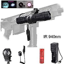 IR LED 940nm Lampe de Poche Kit Set, Mise au Point Réglable Lampe de Poche Infrarouge à Vision Nocturne avec USB Rechargeable Pour Chasse et Tir de Nuit (Lumière Invisible)