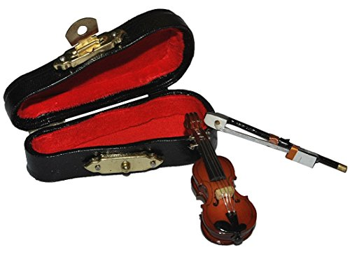 Unbekannt 3 tlg. Set Violine mit Kasten + Bogen - Holz Miniatur Maßstab 1:12 - Geige Puppenhaus - Musikinstrument Musik Instrument Streichinstrument