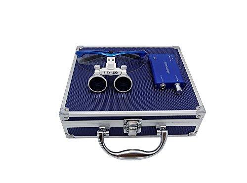 Lupe LMM Dental 3.5X 420mm Binokular Chirurgenstahl Glas optisch mit LED und Behälter aus...