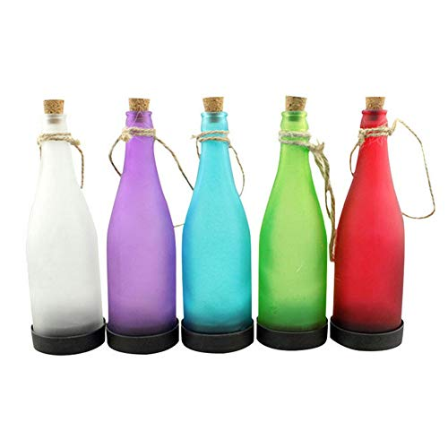 elegantstunning 5x Solar Wein Flasche Lampe Outdoor Nachtlicht Zum Aufhängen Anhänger für Home Garten Terrasse Raum Dekoration (zufällige Farbe)