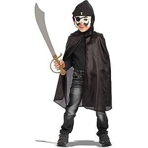 Carnival Toys - Juego pirata: capa con capucha, máscara de foami y espada en bolsa, 63 cm, color negro (744)