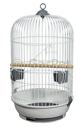 Vogelkäfig Komplett Papagei Käfig Papageienkäfig Vogelbauer rund weiss